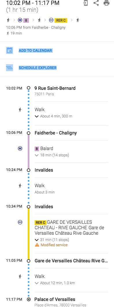 Itinerary Paris Versailles